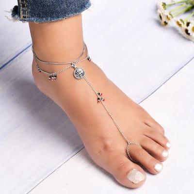 Exquisite Beaded Anklet cum Toe Ring