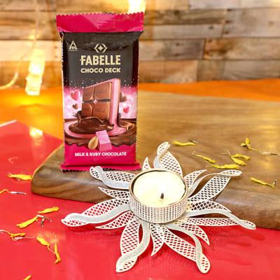 Fabelle Choco Deck Milk & Ruby Chocolate, With Floral Diya