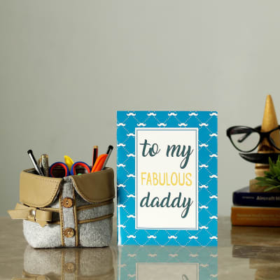 Fabulous Daddy Special Greeting Card With Desk Organizer