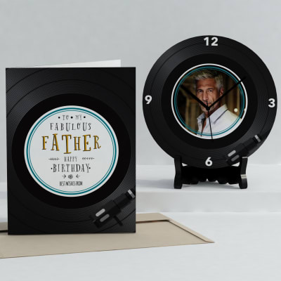 Fabulous Father Personalized Birthday Clock & Card Combo