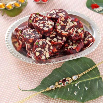 Fancy cz and stone rakhi with sugar free khajoor dry fruits sweets fancy cz and stone rakhi with sugar free khajoor dry fruits sweets negle Gallery