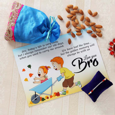 fancy cz rakhi with customized fridge magnet and almonds in fancy