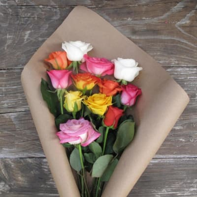 Far Out. . . Man - 12 Assorted Color Roses Bouquet