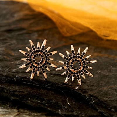 Fashionable Black and Gold Studs
