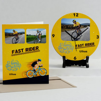 Fast Rider Personalized Birthday Clock & Card combo