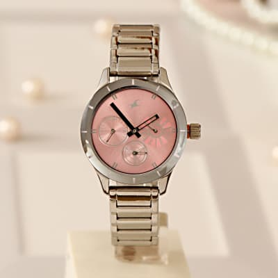 Fastrack Smart Silver Watch with a Pink Dial for Women