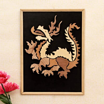 Feng Shui Dragon Wooden Relief Painting 16 Inch