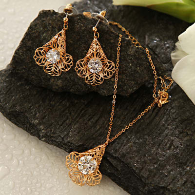 Fine Jali Work Gold Plated Necklace Set with CZ stones