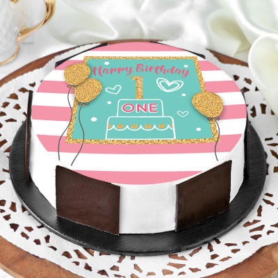 Fabulous Order First Birthday Cake Half Kg Online At Best Price Free Funny Birthday Cards Online Alyptdamsfinfo