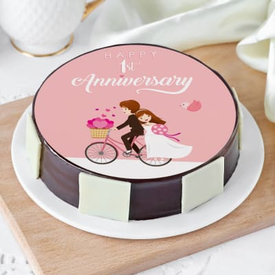 First Wedding Anniversary  Cake (Eggless) (1 Kg)