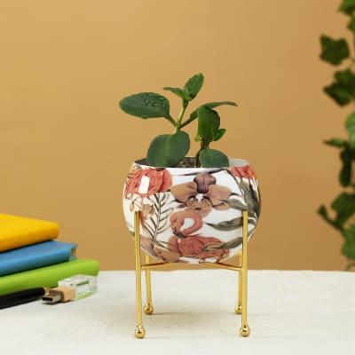Flamingo & Flower Design Round Metal Planter