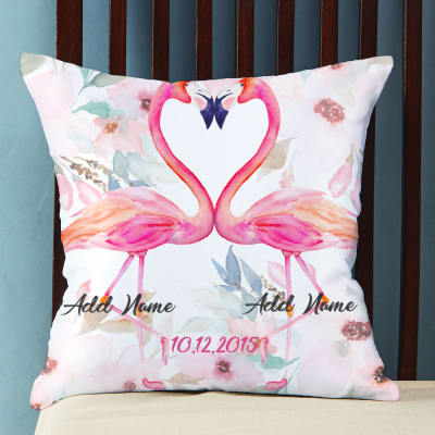 Anniversary gifts for couples marriage anniversary gifts for flamingo love personalized cushion negle Images