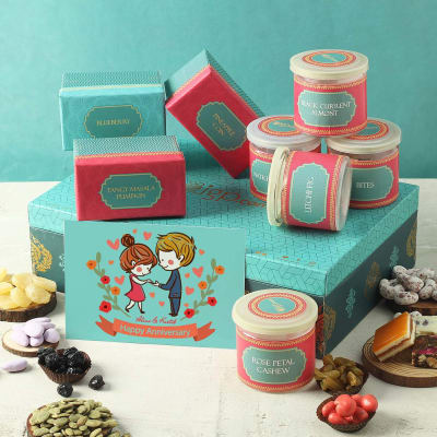 Flavored Dry Fruit Box with Personalized Anniversary Card