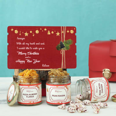 Flavored Dry Fruits & Card in Gift Bag