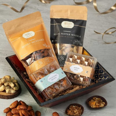 Flavoured Dry Fruit Gift Boxes in Decorative Tray