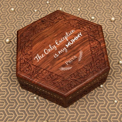 Floral Carved Wooden Jewelry Box for Mom