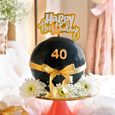 Floral Chocolate Pinata Ball Cake (Eggless) for Birthday (1Kg)