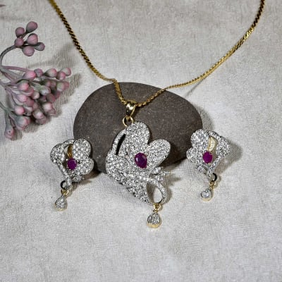 Floral Design Pendant Set in CZ and Pink Stone