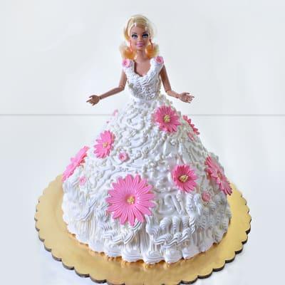 Floral Designer Barbie Cream Cake (2 Kg)