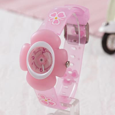 Floral Dial Analog Watch For Girls