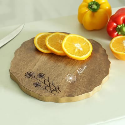 Floral Motif Personalized Wooden Platter
