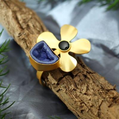 Floral Motif Semi-Precious  Stone Handmade Ring