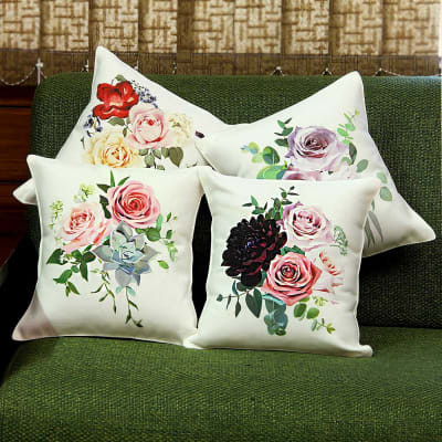 Floral Print Set of 4 Canvas Cushions