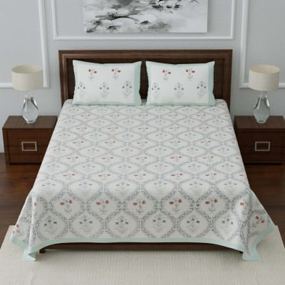 Floral Printed Designer Double Bedsheet with Pillow Covers