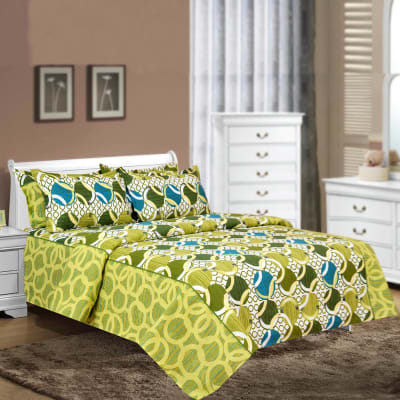 Flower Design Cotton Double Bedsheet with Pillow Covers