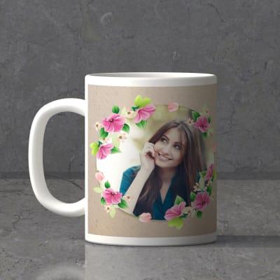 Flower Frame Personalized Birthday Mug