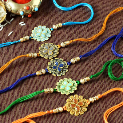 Flower Rakhi with Stone & Meena Work