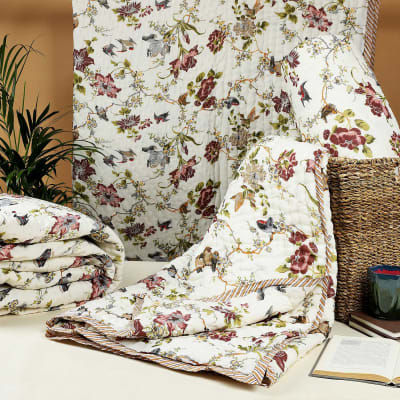 Flowers & Birds Printed Double Bed Cotton Quilt