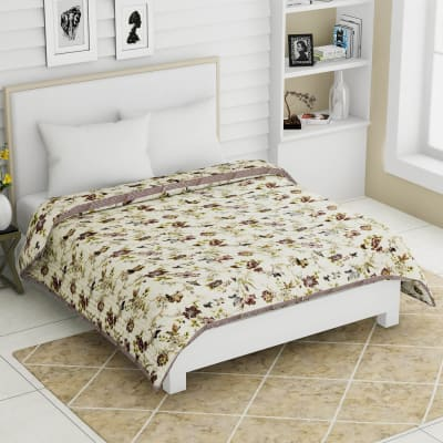 Flowers & Birds Printed Single Bed Cotton Quilt