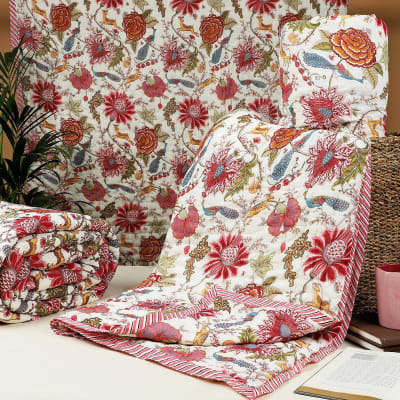 Flowers & Peacock Design Single Bed Cotton Quilt