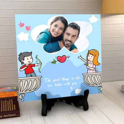 For My Valentine Personalized Ceramic Tile