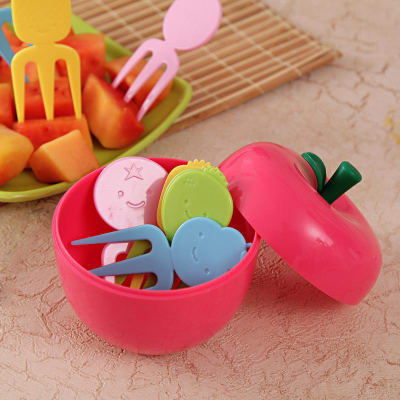 Fork Set 10 pcs in Apple Shaped Container