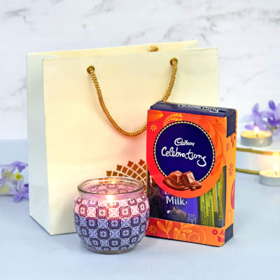 Fresh Lavender Candle with Cadbury Chocolate Bars in Goodie Bag