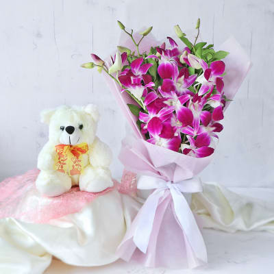 Fresh Orchids Bouquet with Teddy (6 inch)