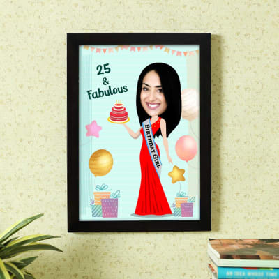 Fun Personalized Caricature in Birthday Photo Frame Style for Women