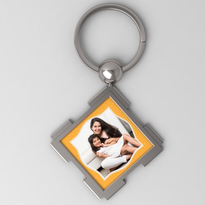 Funky Personalized Metal Square Key Chain