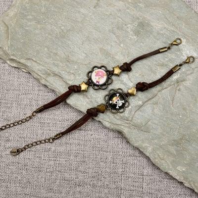 Funky Skull and Doll Couple Bracelet Set
