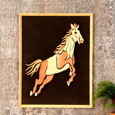 Galloping Horse Feng Shui Wooden Relief Painting 18 Inch