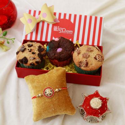 Ganesha dial metallic rakhi with assorted sugar free muffins in a ganesha dial metallic rakhi with assorted sugar free muffins in a gift box negle Gallery