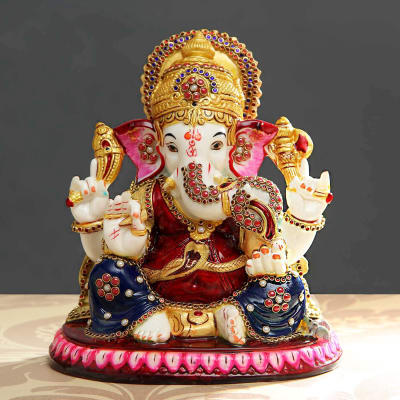 Ganesha Idol of Resin with Kundan and Meena Work