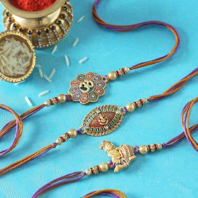 Ganesha, Krishna & Om Designer Rakhi (Set of 3)