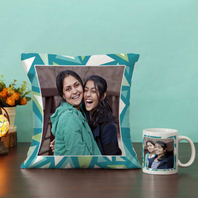 Geometric Pattern on Personalized Cushion & Mug Hamper