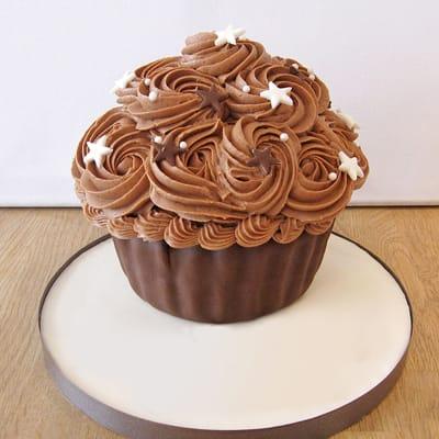 Giant Chocolate Cupcake Semi Fondant Cake (Eggless) (3 Kg)