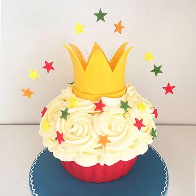 Giant Cupcake with Crown Semi Fondant Cake (3 Kg)