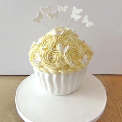 Giant Wedding Cupcake with Butterflies Semi Fondant Cake (3 Kg)