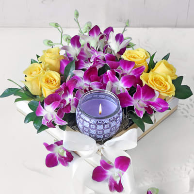 Gift Hamper With Mixed Flowers & Scented Candles